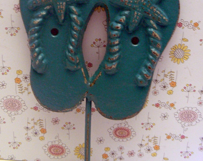 Flip Flops Starfish Cast Iron Hook Teal Blue Shabby Chic Cottage Chic Beach Nautical Home Decor