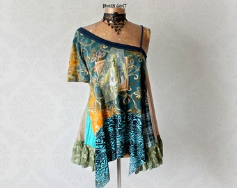 Draped Art Shirt One Sleeve Top Off Shoulder Shirt Upcycle Clothing Teal Hippie Tunic Boho Chic Clothes Funky Lagenlook Fashion L XL 'TRISTA
