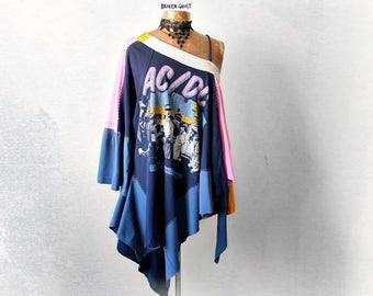 Boho Layered Top AC/Dc Concert Tee Hippie Festival Gypsy Poncho Off Shoulder Shirt DIY Band T-Shirt Upcycled Clothing Summer Tunic 'JULIA'