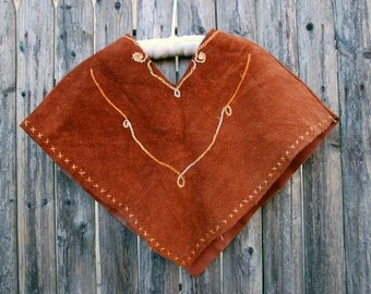 Vintage 70s Kid's SUEDE Poncho Boho Baby Poncho Hippie Kid's EMBROIDERED Poncho Leather Poncho