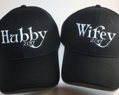 Custom Baseball Hats for Bride and Groom-DATED- Hubby 2017; Wifey 2017; Wedding