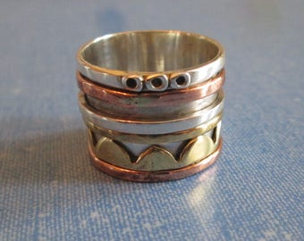 RING  - SPINNING -  spinner  - TRIPLE   - Wide - Bands - Three Tone - 925 - Sterling Silver - Size 8 1/2 spinner214