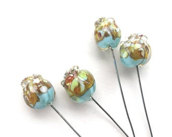 Pomegranate Lampwork Headpins, Flower Headpins, Bud Lampwork Head Pins, Set of 4 by Dry Gulch, Better Together #494