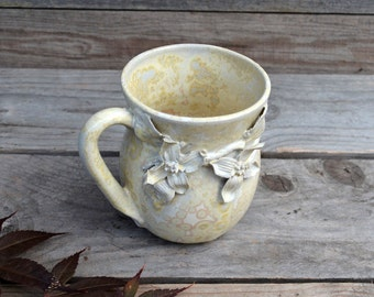 Stoneware Tea Cup  in cream with Cornus flowers  - Handmade  Stoneware Ceramics  - cream - mug