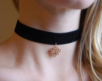 Black Thick Velvet Choker Necklace with Gold Lotus Pendant