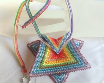 Rainbow Geometric Pendant Necklace - EBW Team