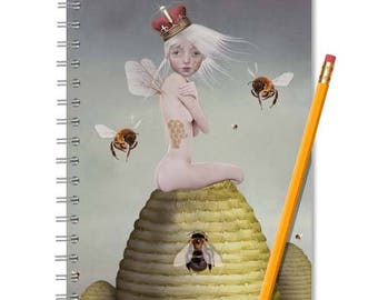 Bee Notebook - bees  Journal - LINED OR BLANK pages, You Choose