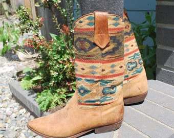 Vintage Cowboy Boots Brown Leather Boho Southwestern Seychelles Aztec