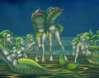 Original weird reverse-mermaid painting: 'Maidmers on the Beach'- strange art by Nancy Farmer (unframed)