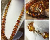 Long Luscious Faux Amber Mushroom Bead Necklace Unsigned Lucite Beads 1960's 1970's Boho Bohemian Golden Brown Single Strand Graduted Beads