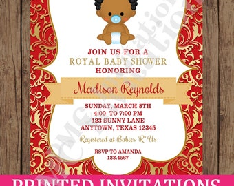 Custom Printed African American Red Royal Prince Baby Shower Invitations  - 1.00 each with envelope