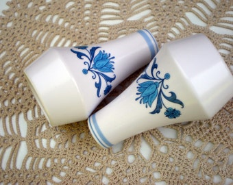 Vintage  Salt and Pepper Shaker Set, Noritake Blue Haven Pattern, Blue and White China, Rustic Country Cottage Kitchen Decor, Collectible