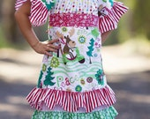 Girls Christmas Moose Dress   Size 2t-7yrs
