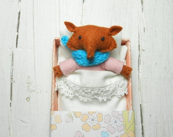 Woodland felt animal kids felt fox woodland plush stuffed red fox animal plushie gift for children fox softie doll pink birthday