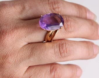 12ct amethyst 14k gold ring 18mm x 13mm large oval statement gemstone size 7
