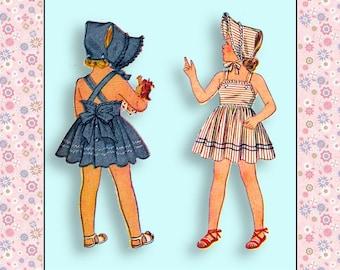 Vintage 1940s-Darling Pinafore  SUNDRESS-BONNET-Shaped Yoke PANTIES-Sewing Pattern-Tie-Back Bow-Bias Ruffle Trim-Suspender Skirt-Size 8-Rare