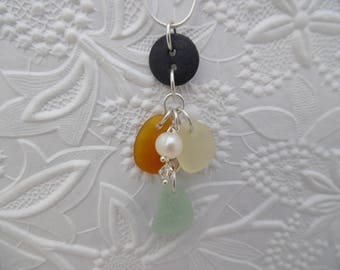 Windchime Sea Glass Necklace Beach Seaglass Button Jewelry Wind Chime Sterling
