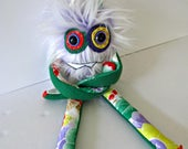 Monster Plush - OOAK Handmade Plush Monster Toy - Hand Embroidered Stuffed Monster - Purple Faux Fur Monster - Cute Weird Plush Toy - Bright