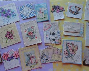 Gift Cards for Vintage All Occasion in Lot No 229 Little Cards for Birthday Thank You and Get Well Total of 17