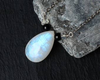 "Rainbow Moonstone Necklace, Black Onyx, Sterling Silver - ""Moonlight Mist"" by CircesHouse on Etsy"