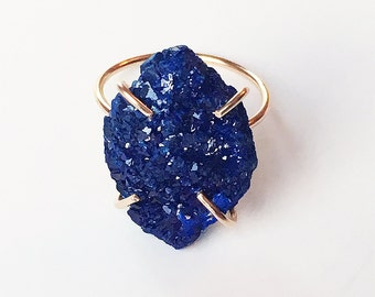 SALE Azurite Cluster Gold  Ring OOAK