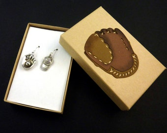 Baseball Earrings.  Dangle Earrings.  With Hand Decorated Box.   Baseball Glove and Baseball Cap Charm.