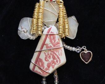 Sea Pottery and Sea Glass Angel  Ornament, Valentine Ornament