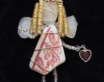 Sea Pottery and Sea Glass Angel  Ornament, Christmas Tree Ornament