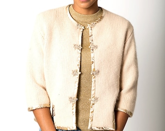 The Vintage Robinson's Beige Wool Asian Sweater Cardigan