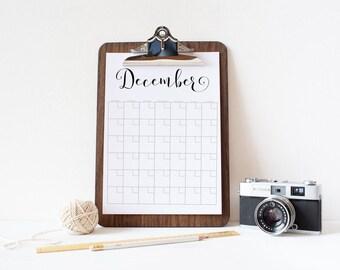 Calendar, Printable black and white, simple full-year Printable calendar, Reusable perpetual calendar, perpetual, printable DIY, letter size
