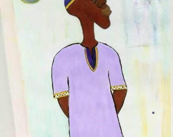African  american art, black man painting, african art, purple yellow white and blue painting, black art, sharahschoices art,oil acrylic