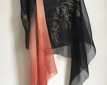 Wedding shawl, Hand painted silk chiffon scarf in black to bittersweet gradation. Decorative scarf, Oversized shawl, Mother of groom shawl