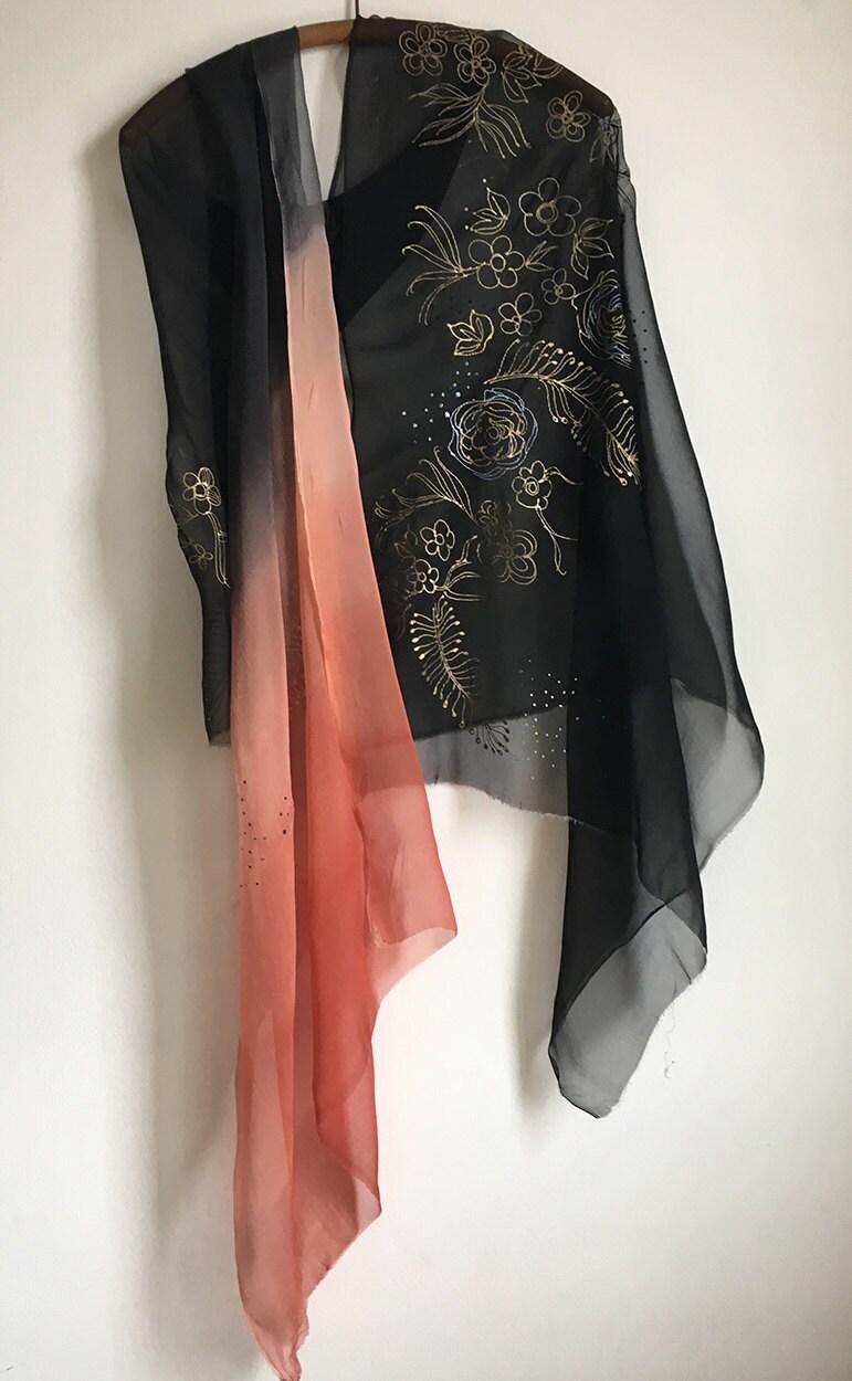 Wedding shawl, Hand painted silk chiffon scarf in black to ...