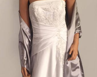 Satin wrap wedding shawl scarf bridal sash bridesmaid cover up shrug stole prom evening long SW100 AVL IN silver gray and 18 other colors