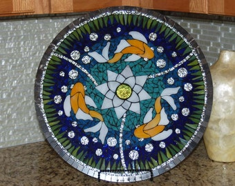 Lazy Susan, Koi Fish, Stained Glass Mosaic, 18""