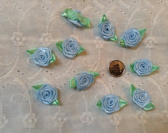 10-3cm Ribbon Roses in Pastel Blue with Mint Green Leaves - Lot of 10