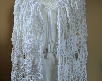 White with Silver Wrap Cape Shawl in a Lacy Crochet & Beaded Tie-Up - Poncho Alternative M -XL