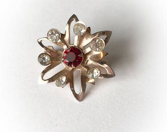 Vintage Star Flower Red and White Rhinestone Brooch