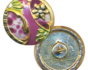 Button--Early 20th C. Spatter Celluloid in Painted Brass Floral