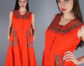 1950s Vintage Dress Red RickRack Dress Ribbon Applique Dress Pockets Squaw Dress RicRac Dress