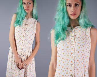 60s Joanna Nelson Dress 1960s Calfornia Designer Dress Floral Textured Dress Summer Sun Dress