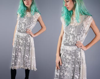 20s Lace Dress White Sheer Dressing Gown Embroidery on Net 1920s Dress Tambour Lace Dress