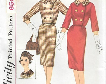 Simplicity 3588 UNCUT 1960s Pill Box Hat Wiggle Skirt and Short Jacket Vintage Sewing Pattern Size 12 Three Quarter Sleeves