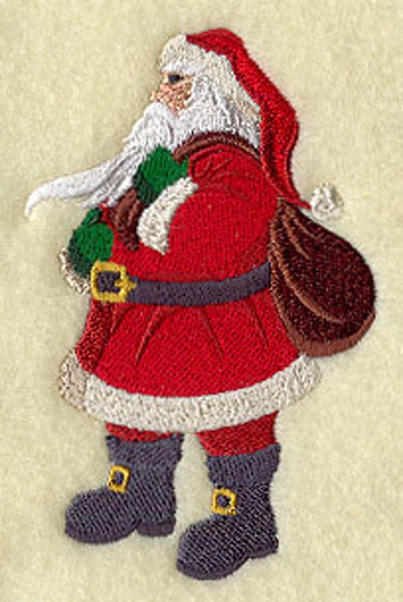 Enchanted Christmas Santa Claus Embroidered Terry Kitchen Towel Bathroom Hand Towel