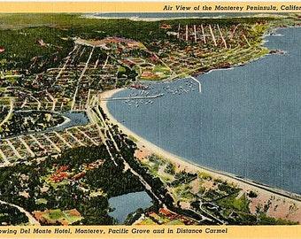 Vintage California Postcard - Aerial View of the Monterey Peninsula (Unused)