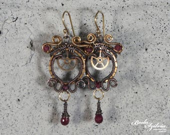 Garnet steampunk dangle earrings - copper and brass earrings with gears - elegant steampunk jewelry