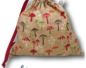 Little Mushrooms - Mini Project Bag for Knitting, Crochet, or Cross Stitch