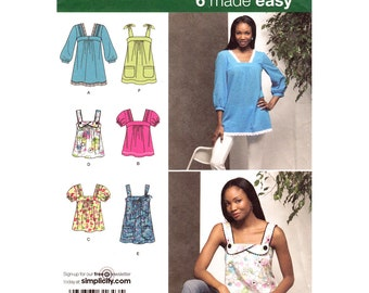 Womens Top Pattern Simplicity 2970 Easy Tunic Puff Sleeves Smock Top Sleeveless Short Sleeves Womens Sewing Pattern Size 6 8 10 12 14 UNCUT