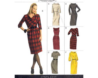 Fitted Cowl Neck Dress Pattern Vogue 8413 Plus Size 18 20 22 24 Sleeveless 3/4 or Long Sleeve