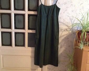 Vintage Overall Dress Olive Green Strap Dress Overall Skirt Maxi  Medium M